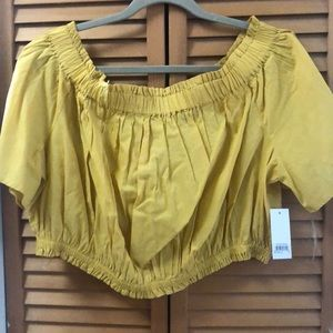yellow off the shoulder blouse